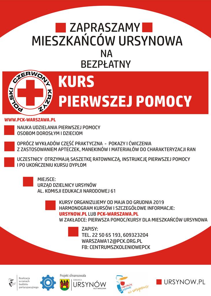 Plakat dotyczący kursu pierwszej pomocy na Ursynowie